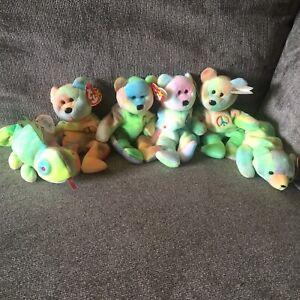 Lot Of 6 Ty Beanie Babies Ty Dye Peace Iggy Sammy B.b. Bear