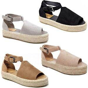 ad493c8940f New Women AM40 Black Gray Beige Peep Toe Flatform Platform ...