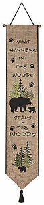 """WALL ART - """"WHAT HAPPENS IN THE WOODS"""" TAPESTRY WALL HANGING - BELL PULL"""