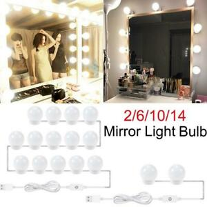 Details About 2 6 10 14led Makeup Mirror Light Bulb Lamp Kit Dimmable Cosmetic Vanity Lights