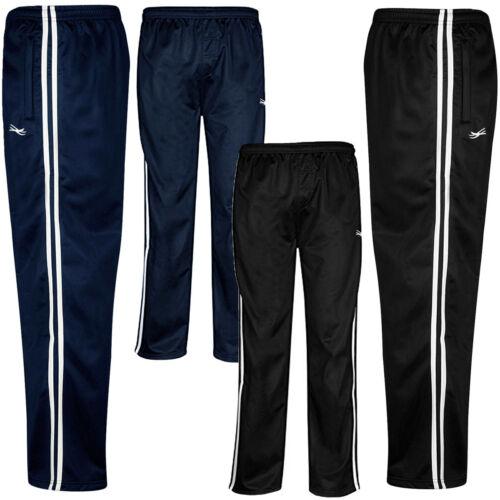 Zip Pockets Stripe Silky Tracksuit Bottoms  Mens Size