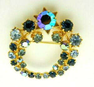 Blue-Aurora-Borealis-Rhinestone-Gold-Tone-Star-Flower-Vintage-Pin-Brooch-As-Is