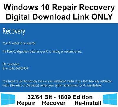 Windows 10 Home Pro 32/64 Bit Recovery Repair Restore Download Link Image  ISO | eBay
