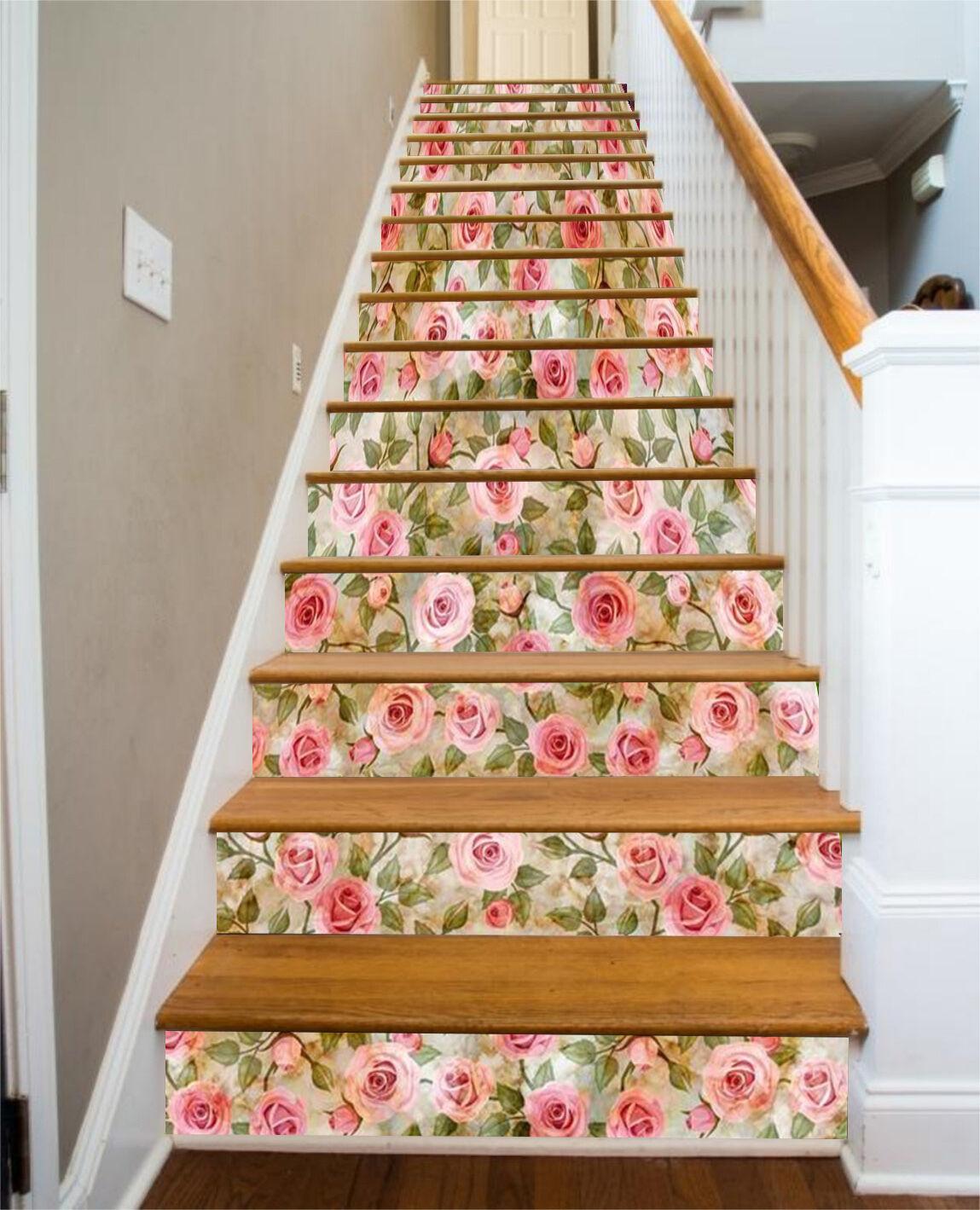 3D Blüten-Blaume 66 Stair Risers Dekoration Fototapete Vinyl Aufkleber Tapete DE