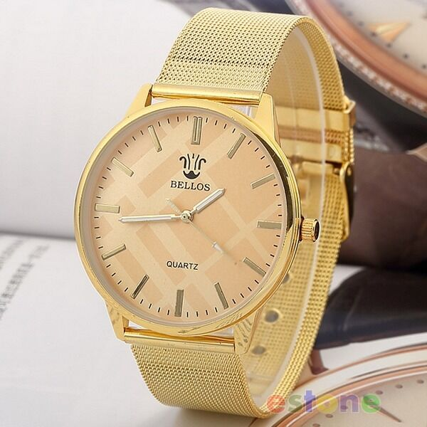New Fashion Women Golden Plated Metal Mesh Band Dial Quartz Analog Wrist Watch