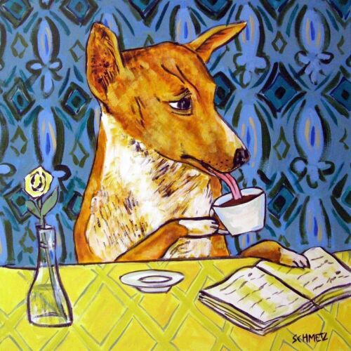 basenji at the coffee shop animal dog art tile coaster gift