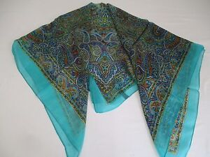 8dc1236c85 Details about ❤️ MADE IN INDIA BNIP AQUA GREEN & BLUE PAISLEY PRINT XL PURE  SILK SQUARE SCARF