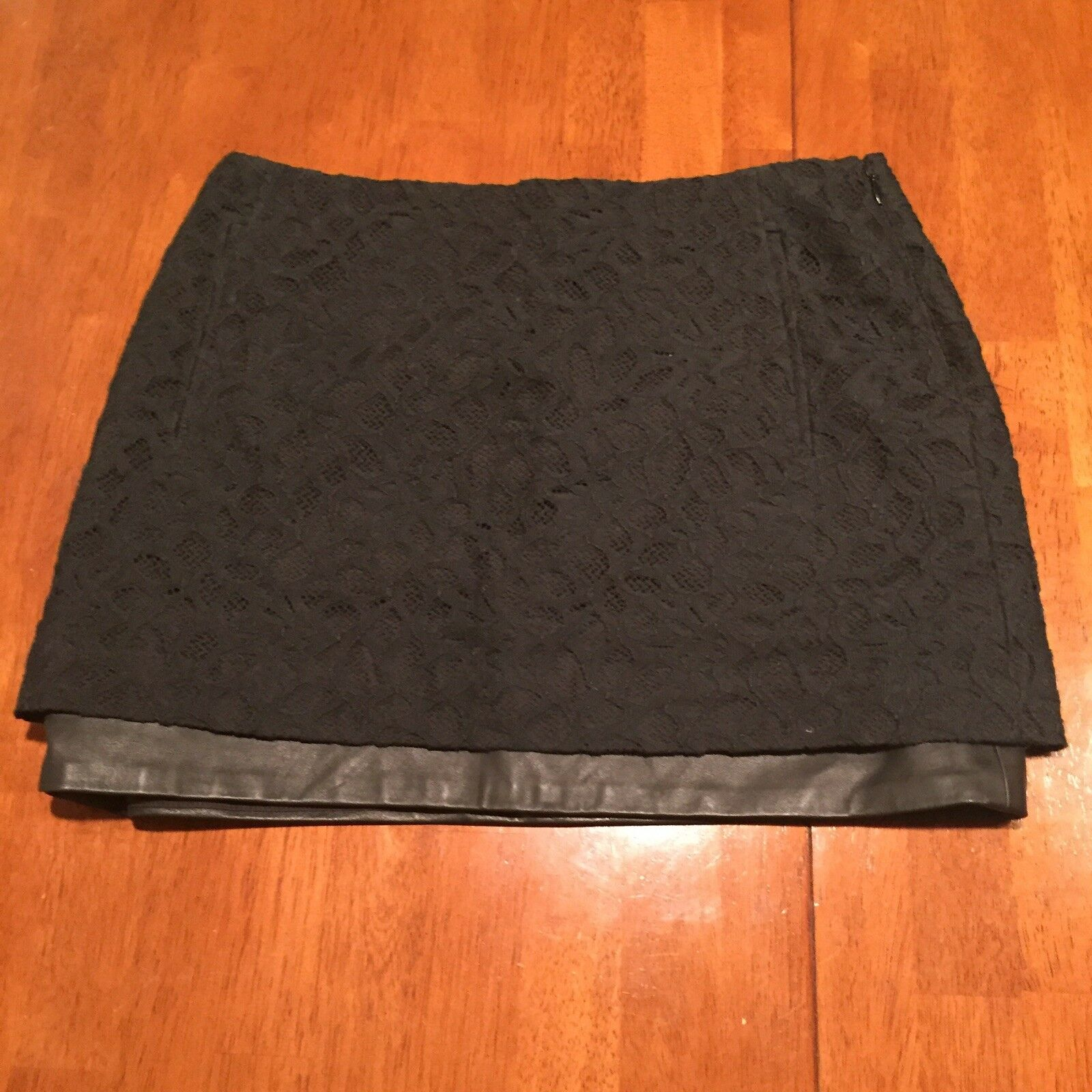 NWT Diane Von Furstenberg DVF Elley Leather Lace Mini Skirt Lace  298 Sz 2