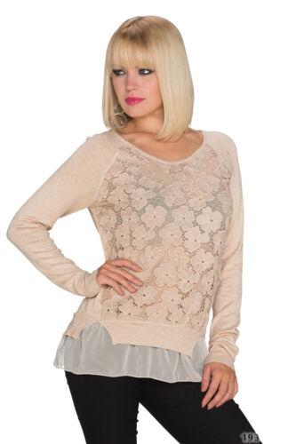 Damen Pullover Pulli Spitze Lagen Layer Look Einheits-Größe S 34 36 warm elegant