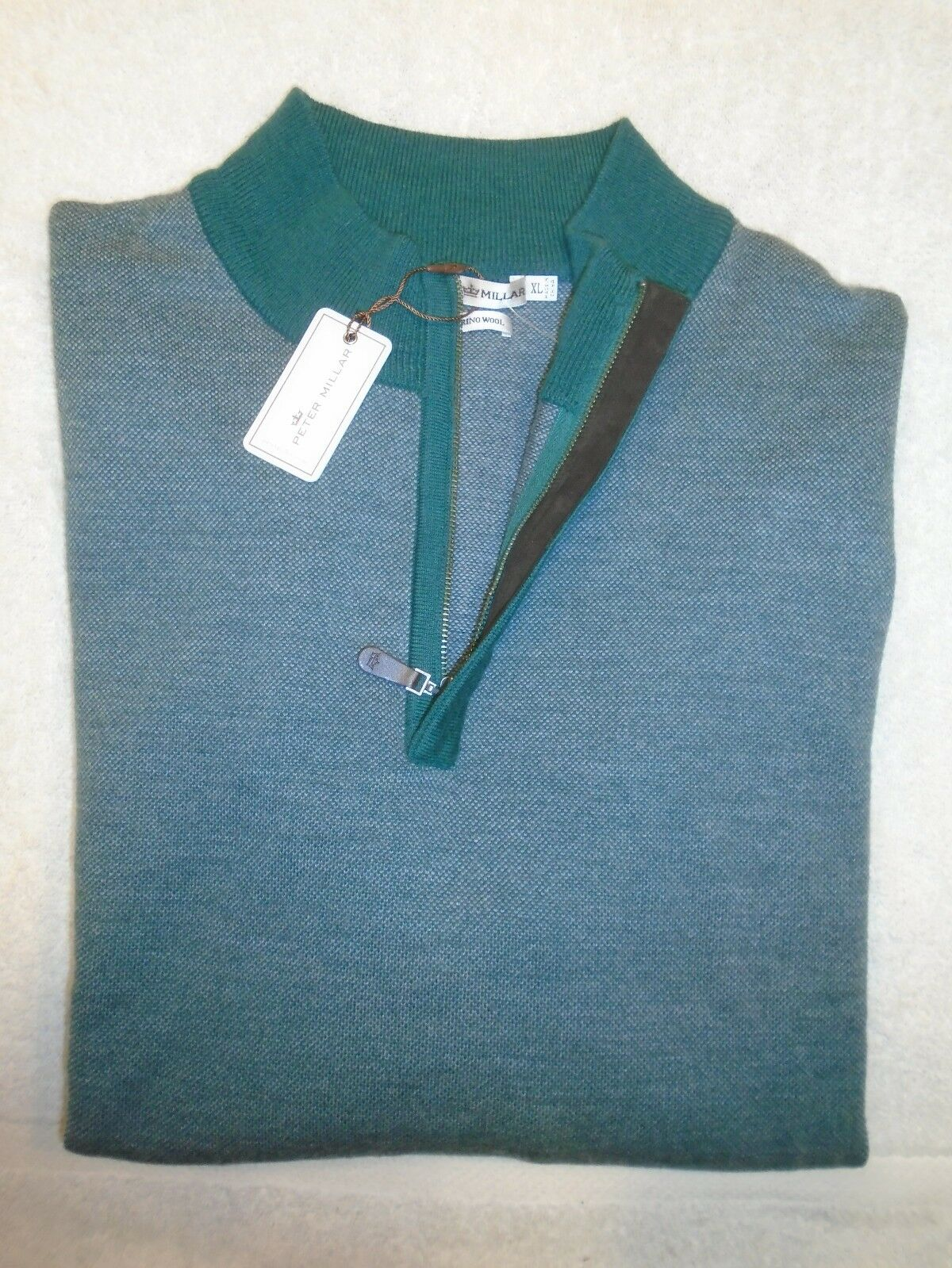 Peter Millar Merino Wool Suede Trim Quarter Zip Sweater NWT XL  245 Forest Grün