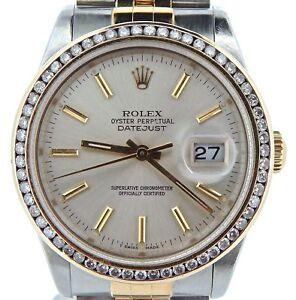 Detalles Reloj Acero Quilates Con Datejust Hombre Oro Rolex 3 Diamantes Bisel 18ct De 1 SMpUVqz