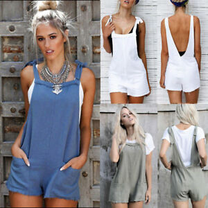 c374e7c2444 UK 6-14 Womens Short Cotton Dungarees Casual Backless Tie Jumpsuits ...
