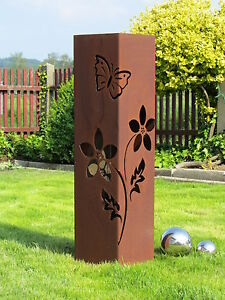 Saeule-rostig-Rostsaeule-Blume-Edelrostsaeule-Gartendeko-Stele-Edelrost-Deko