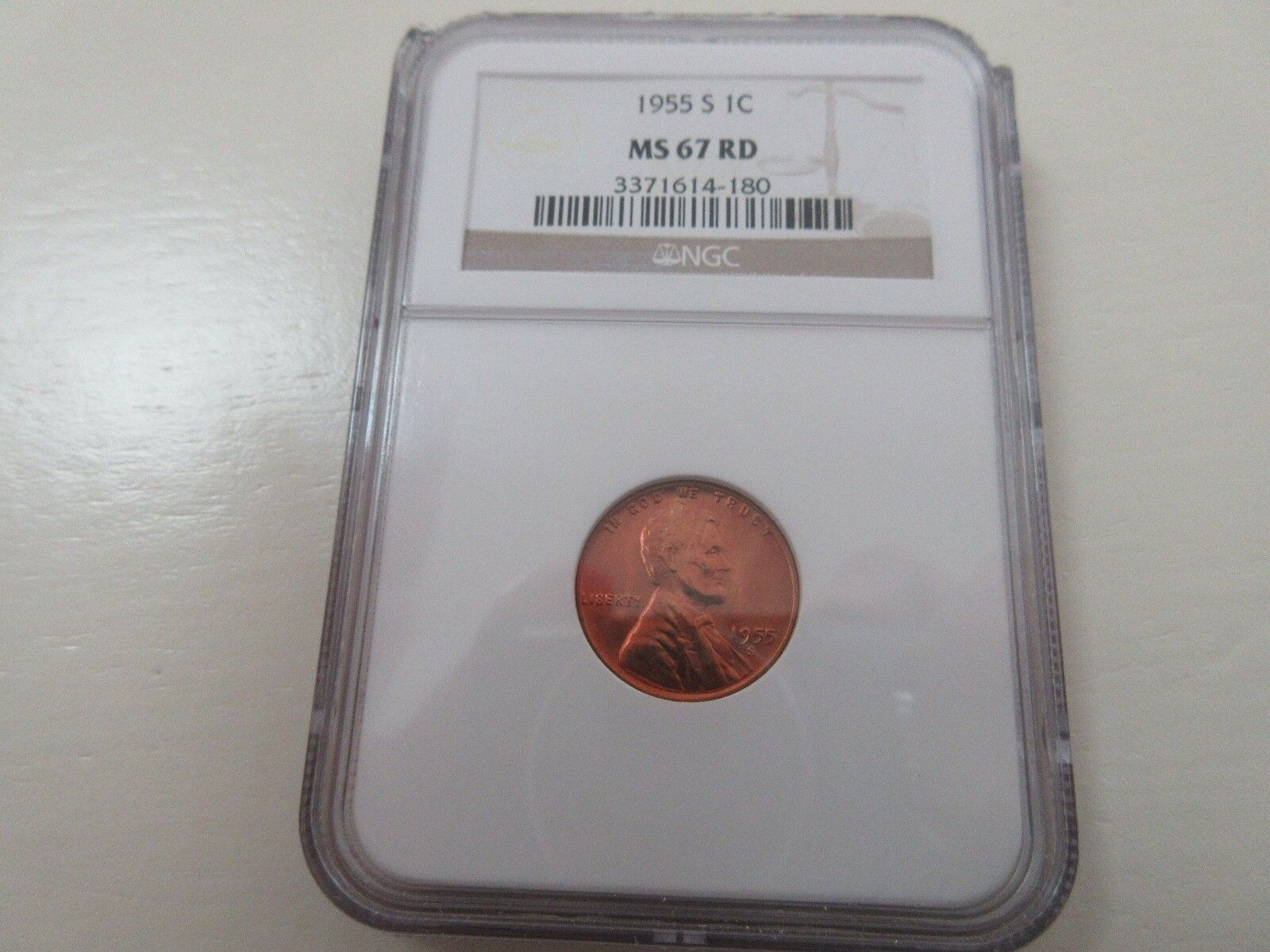 1955-S Lincoln Penny , NGC , MS 67 RD