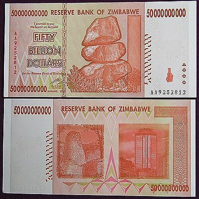 50 Billion Zimbabwe Dollar Uncirculated Money Currency