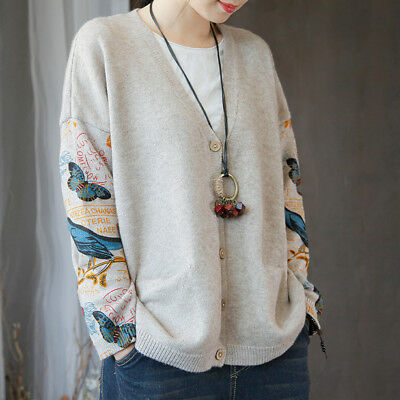 Retro Women's Casual Loose Cotton V Neck Cardigan Coat Sweater Knit Tops Jackets