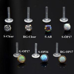 PAIR-Zircon-Opal-Bioplast-PTFE-Labret-Lip-Bar-Ring-Ear-Cartilage-Piercing-Stud
