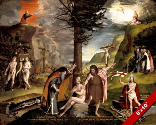 OLD /& NEW TESTAMENT ALLEGORY PORTRAYAL PAINTING BIBLE ART REAL CANVAS PRINT