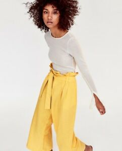 4c1b5d84 Image is loading Zara-SS17-Yellow-Linen-Trousers-With-Belt-Size-