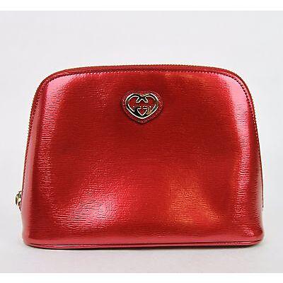 5eda8a26dd15 New Gucci Women's Red Shiny Leather Cosmetic Case w/Interlocking G 338189  6523