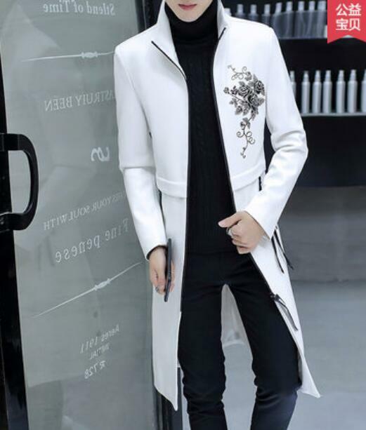 männer Stand halsband leder jacke Coat Slim Fit Outwear Floral Overcoat Trench