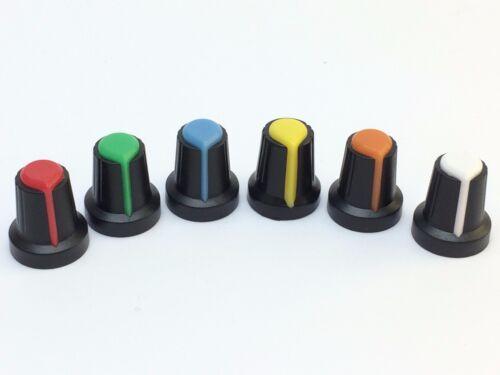 5x Knopf für Drehpotenziometer Ø6mmRot,Grün,Blau,Gelb,Orange,Weiß