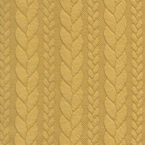 Stretch Fabric Dressmaking Sweatshirt Cable Knit Jersey Rich Yellow 571