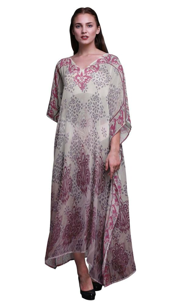 2019 DernièRe Conception Phagun Motif Cachemire Ethnique Dames Vacances Loungewear Maxi Robe -sub-kfl70a Quell Summer Soif