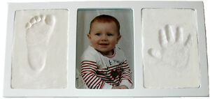 WHITE-Air-Dry-CLAY-WALL-amp-PHOTO-FRAME-KIT-for-Baby-Child-Creates-Foot-Hand-Print