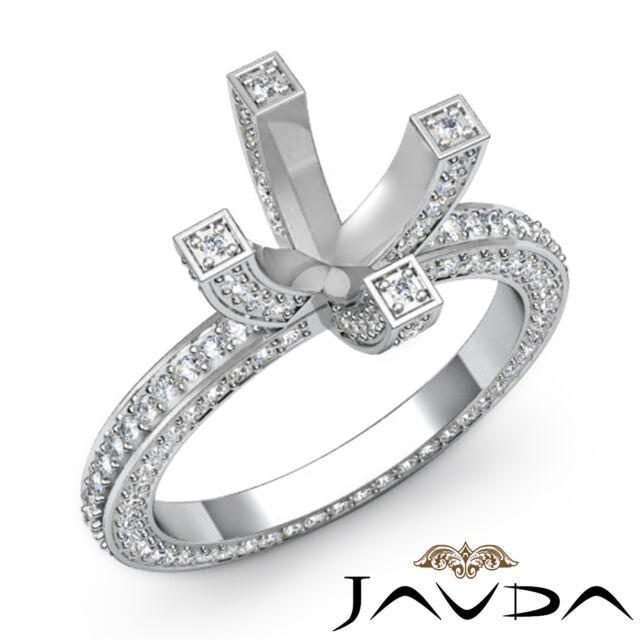 Diamond Wedding Ring 18k White Gold Vintage Style Pave Round Semi Mount 1.9Ct