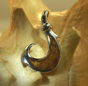 Genuine inlay Hawaiian koa wood fish hook pendant thick heavy sterling silver 925