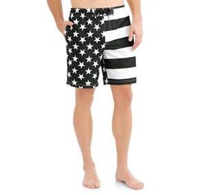 adc2fa5654 George Men's Black White American Flag Swim Trunks Bathing Suit ...