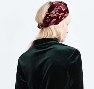 la migliore vendita l'ultimo stile squisito Dettagli su Zara Velluto Fascia Capelli Archetto Floreale Velvet Turbante  Cappello Head Band
