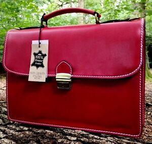 """15 """" Handgemacht Italienisches Leder Aktentasche Laptop Office Tasche Rot"""