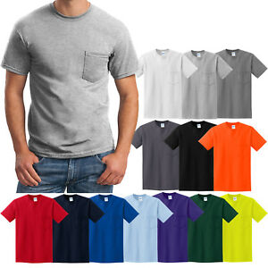 MENS-Pocket-T-Shirt-Gildan-100-Cotton-PRESHRUNK-Tee-Sizes-S-M-L-XL-NEW