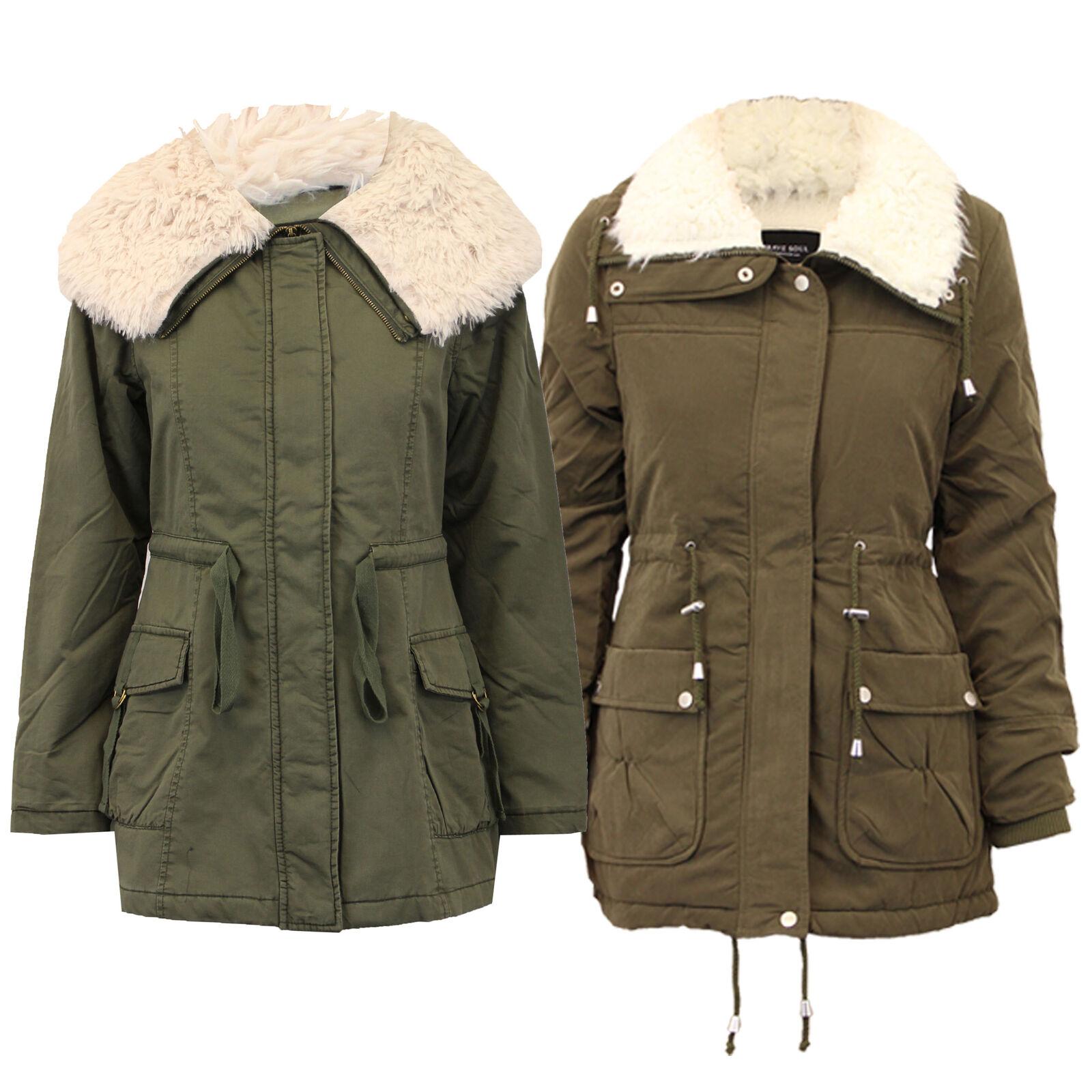 Damen Brave Soul Parka Jacke Damen Mantel gesteppte Sherpa militärischen Winter