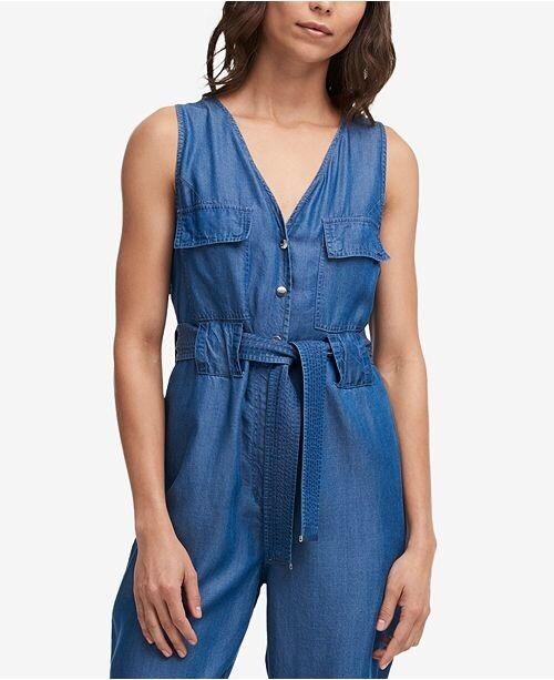 DKNY Jeans Denim Belted Jumpsuit Lyocell