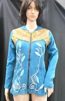 Rising International Nepal Hippie Hoodie Handmade Jacket Applique & Sequence