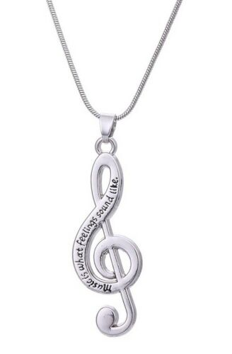 """Details about  /Pendant Necklace Treble Clef Engraved /"""" Music Is What Feelings Sound Like /"""""""