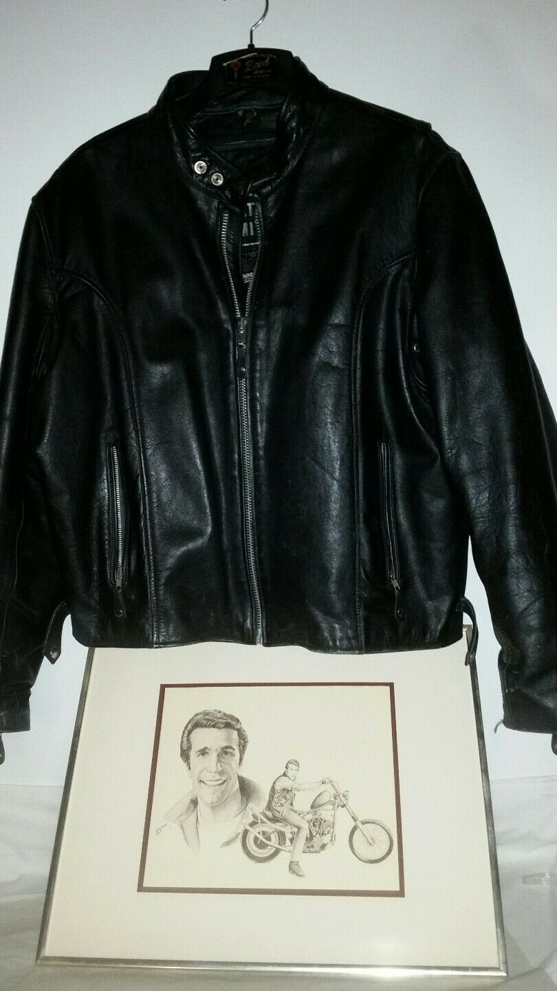 Leather Motorcycle Thinsulate Jacket autgraphed by Henry Winkler No Provenance