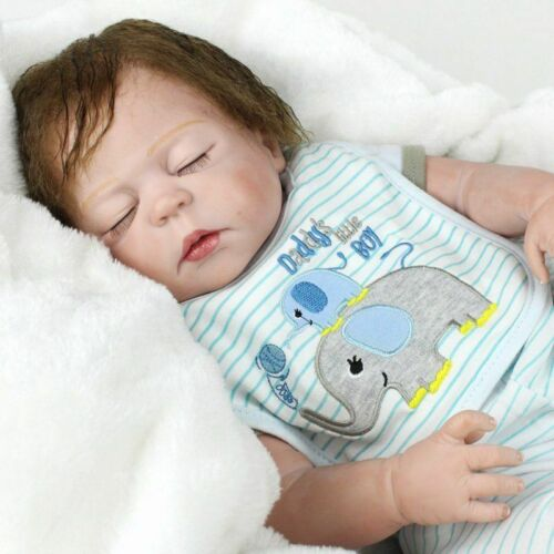 "22/"" Reborn Baby Dolls Full Body Soft Vinyl Silicone Newborn Boy Doll Birth Gifts"