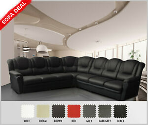 designer fashion 36770 3381f Details about TEXAS - Extra Large Corner Sofa - Black Faux Leather - 7  Seater Sofa Settee