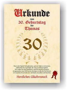 Urkunde-zum-30-Geburtstag-Geschenkidee-Geburtstagsurkunde-Namensdruck-Deko-Bild