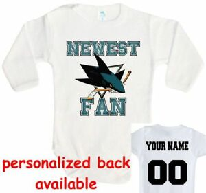 new style a5284 83ae0 Details about Baby bodysuit Newest fan SJ San Jose Sharks hockey One Piece  jersey personalized