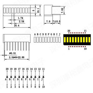 10pcs-LED-Yellow-Amber-Bar-Graph-Display-10-Segments-LED-Displays-10-Bargraph