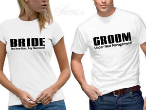 d8d0e1cd BRIDE GROOM MARRIED NEW MANAGEMENT T-SHIRT SET FUNNY DESIGNER MENS ...