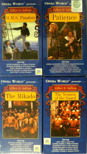 4 GILBERT & SULLIVAN H.M.S. PINAFORE + PATIENCE + THE MIKADO + YEOMAN GUARD VHS