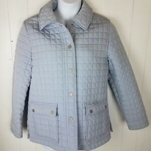 Calvin Klein Light Blue Quilted Jacket W Pockets L Womens