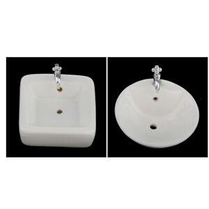 1-12-Puppenhaus-Badezimmer-Moebel-2er-Set-Mini-Waschbecken-aus-Keramik-4-x-2