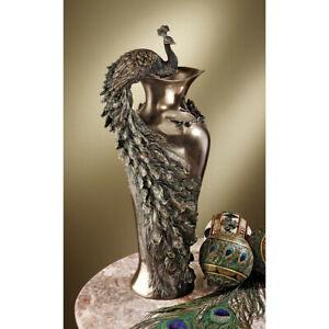 Design-Toscano-Peacock-Centerpiece-Sculptural-Vase